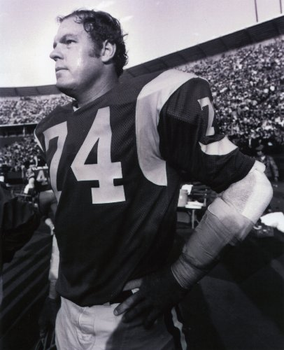 - MERLIN OLSEN LOS ANGELES RAMS 8X10 SPORTS ACTION PHOTO (A)