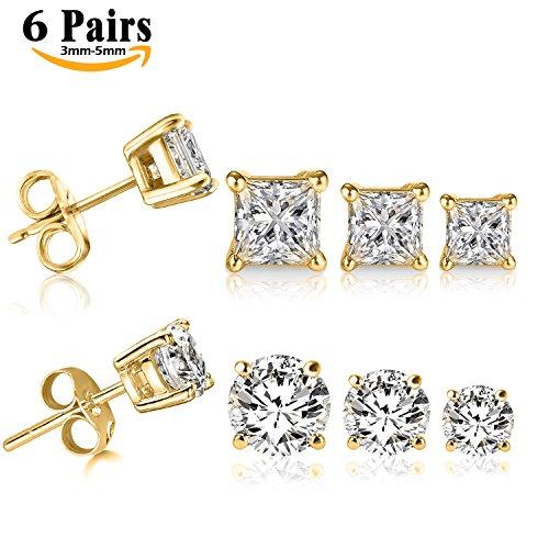 Steel Princess Cut Stud Earrings 5MM (Gold) - 6