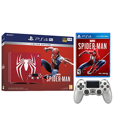 Playstation 4 Pro Marvel's Spider-Man Limited Edition Amazing Red 1TB Console and Extra Silver Dualshock Wireless Controller Bundle