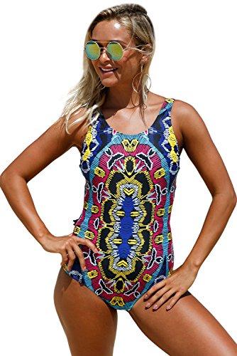 Nuovo marocchino tribale stampato o scollo Monkini Swimsuit bikini Swimwear estivo taglia UK 10EU 38