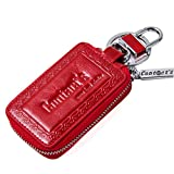 Contacts Women Genuine Leather Key Chain Holder Case Keychain Remote Wallet Red