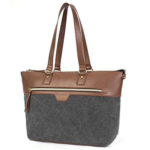 - Ladies Laptop Tote Bag 15.6 Inch,Canvas Leather Stylish Multi-Pocket Travel Business Casual Shopping Shoulder Bag Carrying Briefcase Handbag for Women 13 14 15