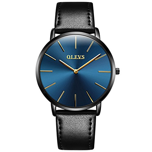 (Ultra Thin Watches for Men Leather Black Slim 6.5MM Blue face Mens Watch G5868P)