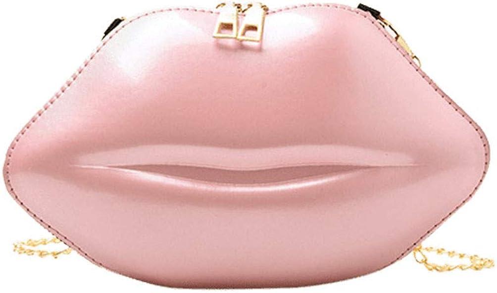 Women's Lip Shaped Evening Bag Crossbody Shoulder Bag PVC Solid Color Zipper Party Purse