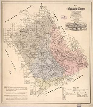Amazoncom 1876 Map of Comanche County state of Texas showing the