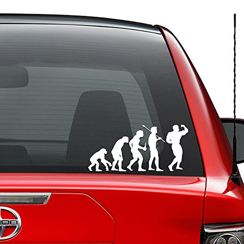 Price comparison product image Theory of Evolution Bodybuilding Muscle Vinyl Decal Sticker Car Truck Vehicle Bumper Window Wall Decor Helmet Motorcycle and More - (Size 5 inch / 13 cm Wide) / (Color Gloss White)