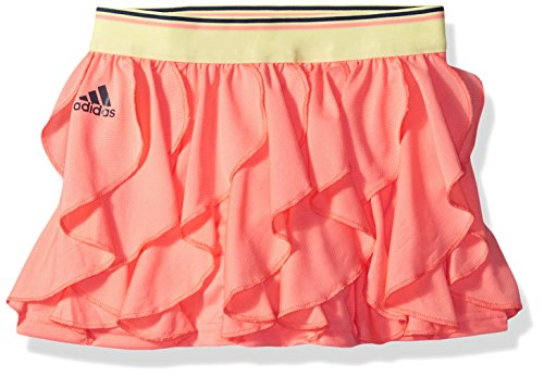adidas Youth Girls Tennis Frilly Skirt, Chalk Coral, Small ()