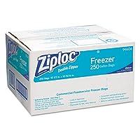 Ziploc 94604 Bolsas para congelar con doble cremallera, 1 gal, 2.7 mil, transparente con panel de etiquetas (caja de 250)