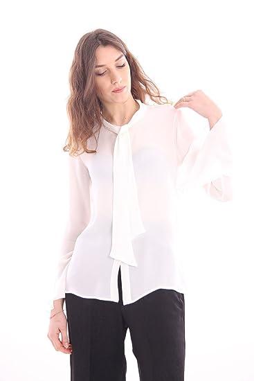 6e28f58ca617d5 White Silk Shirt with Neck TIE