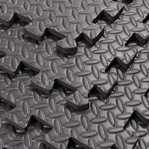 Black Interlocking Non Slip Floor Matting suitable for Gym Garage Workshop Office Home Playroom Outdoor/Indoor Soft Foam…