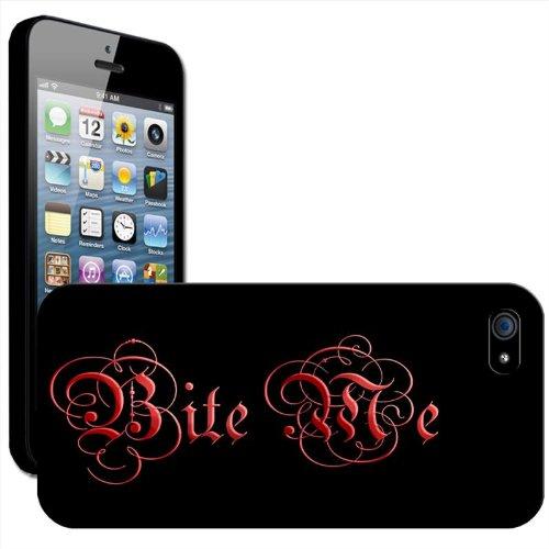 Bite Me Vampire Blood Gothic Writing Coque arrière rigide pour Apple iPhone modèles, plastique, iPhone 5/5s