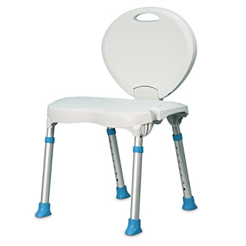 AquaSense Folding Bath And Shower Seat With Non Slip Seat And Backrest,  White