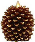 Luminara Pine Cone Candles: 3.5 x 4 Unscented, Battery Operated, Flameless Candles with Timer (Brown) with Gold Accents