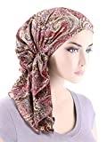 The Bella Scarf Chemo Turban Head Scarves Pre-Tied Bandana For Cancer Plisse Rose Paisley Floral