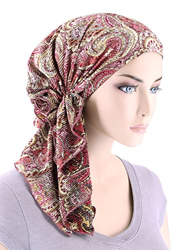 The Bella Scarf Chemo Turban Head Scarves Pre-Tied Bandana For Cancer Plisse Rose Paisley Floral by Turban Plus