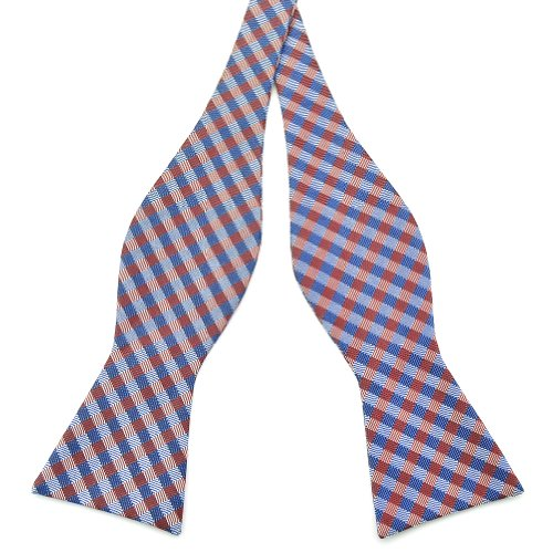 PenSee Mens Self Bow Tie Red & Navy & Grey Plaids Stripe Woven Silk Bow Ties - Stripes Woven Bow Tie