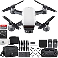 DJI Spark Portable Mini Drone Quadcopter Fly More Combo Travel Bundle (Alpine White)
