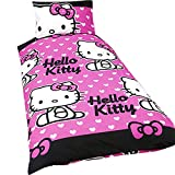 Girls Hello Kitty Bedding Duvet Cover and Pillowcase (Twin Bed) (Pink/White)