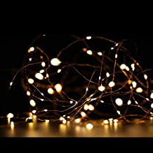 ZOIC 50/100LED(5M/10M) Copper Wire String Fairy Light Xmas Decor Powered Battery Valentine Party Wedding (5M/50 LEDs, Warm White)
