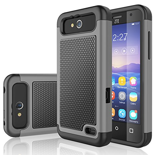 ZTE Maven Case, ZTE Overture 2 Case, Tekcoo [Tmajor Series] [Gray] Shock Absorbing Hybrid Rubber Plastic Defender Rugged Slim Hard Case Cover For ZTE Maven / Overture 2 / Speed / Fanfare