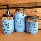 Cheap 3 Piece Rustic Denim Blue Mason Jar Bathroom Set, Mason Jar Desk Set, Mason Jar Vanity Set, Mason Jar Office Decor, Blue Farmhouse Mason Jar Decor