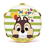 Yingealy Educational Toy 18cm Baby Hand Drum Wooden Flower Tambourine Percussion Instrument (Squirrel)