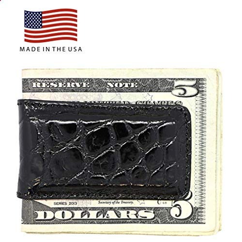 Black Glazed Genuine Alligator Money Clip – Magnetic - American Factory Direct - Extra Strong Shielded Magnets - Money Holder - Made in USA by Real Leather Creations FBA497