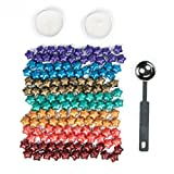 Luropa 140 Pieces Rainbow Colorful Star Shape Sealing Wax Beads with a Wax Melting Spoon and 2 Pieces Candles for Wax Seal Stamp(7 colors)