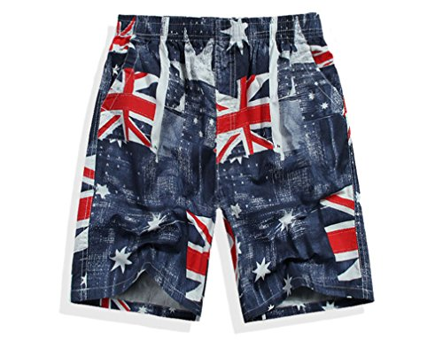 Men's Board Shorts, British Flag Design, Red - Suit Union Plaid
