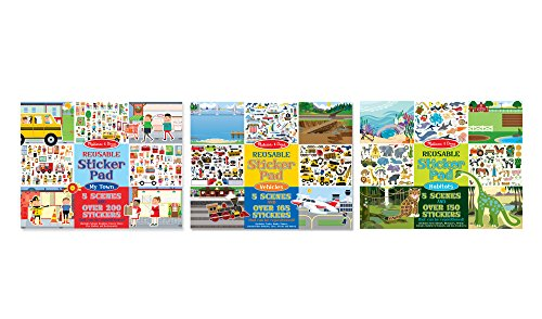 Melissa & Doug Reusable Sticker Pad Bundle - Habitats, Vehicles, and Town