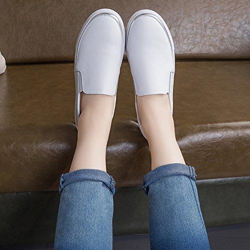 Loafers Schoenen Voor Dames - Casual Slip Op Ronde Neus Comfortabel Plateau Penny White
