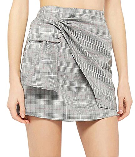 Arctic Cubic Highwaist Asymmetrical Ruched Twisted Tie Front Plaid Tartan Gingham Checkered Mini Bodycon Skirt Light Grey (Plaid Tie Front Skirt)
