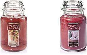 Yankee Candle Large Jar Candle, Autumn Wreath & Large Jar Candle Home Sweet Home