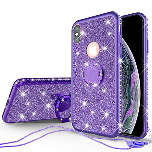 irl Women, Glitter Cute Girly Ring Kickstand Diamond Rhinestone Bumper Shock Proof Clear Protective Phone Case Compatible for Apple iPhone XR - Purple ()