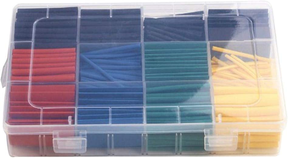 530Pcs Heat Shrink Tubing 2:1 Electric Insulation Shrinkable Tube Cable Sleeve Wire Cable Wrap Assortment with Box