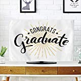 iPrint LCD TV Cover Lovely,Graduation Decor,High School University Academy Commendation Honors Degree Bachelor,Black White Orange,Diversified Design Compatible 32'' TV