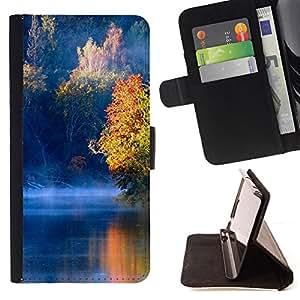 BullDog Case - FOR/Samsung Galaxy S5 V SM-G900 / - / Nature Blue Lake /- Monedero de cuero de la PU Llevar cubierta de la caja con el ID Credit Card Slots Flip funda de cuer
