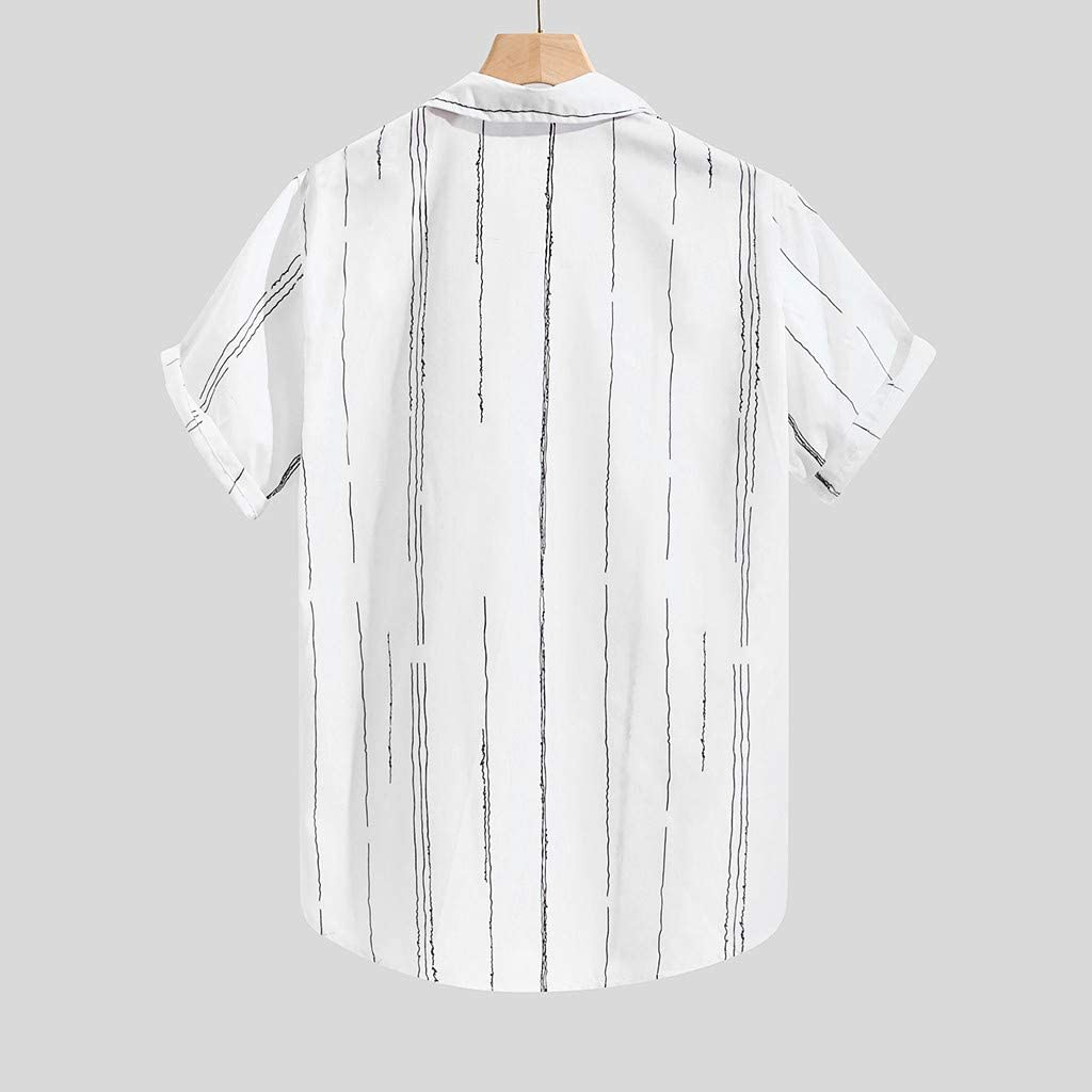 Mens Casual Dress Shirt Button Down Shirts Striped Printed Chest Pocket Tops Loose Short Sleeve Tee Blouse
