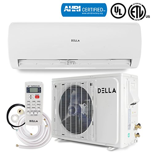 DELLA 12,000 BTU 230V Mini Split Inverter AC Ductless Wall Mounted Air Conditioner Inverter w/Heat Pump System Full Set (17 SEER) AHRI Certified