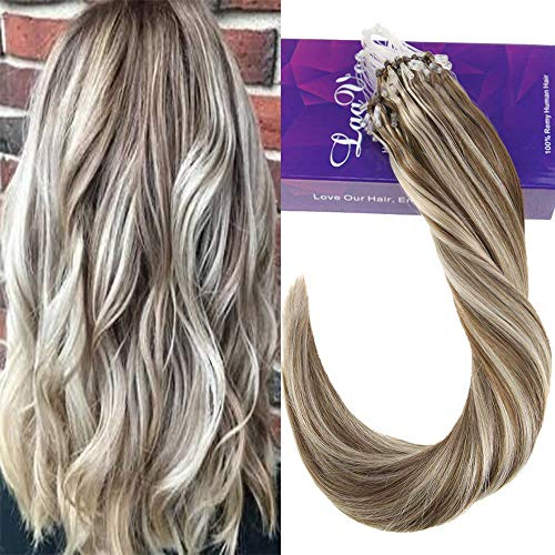 g Beads Pre Bonded Hair Extensions Highlight Color Light Brown to Color Platinum Blonde 100% Remy Human Hair Extensions 50g 1g/Strand (Brown Platinum Ring)
