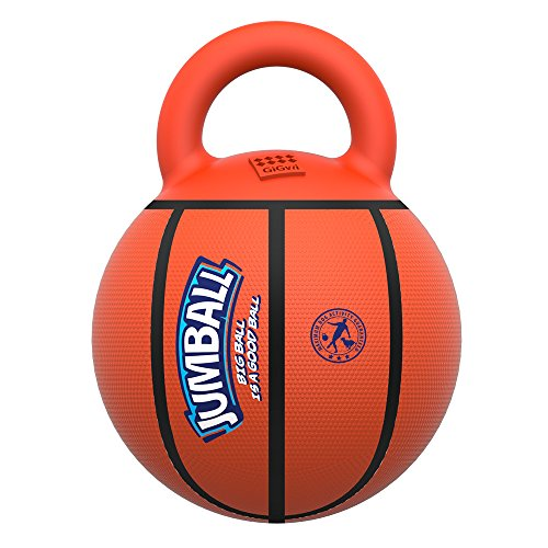 Gigwi JUMBALL Dog Tug and Dog Ball Toss Interactive Toy Dog Basketball Ball with Handle Large Dog Ball Toys Diameter 8 Inches, Excercise Ball for Large Dogs But not Aggressive Chewers ()