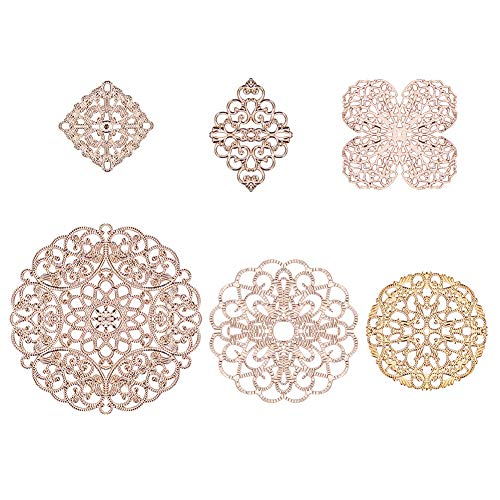 PH PandaHall 12pcs 6 Style Golden Brass Filigree Flower Connectors Charms Pendants for DIY Hairpin Headwear Earring Jewelry Making Findings - Filigree Flower Charm