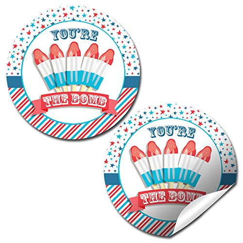 4th of July Bomb Pop Popsicle Party Themed Thank You Sticker Labels, 40 2