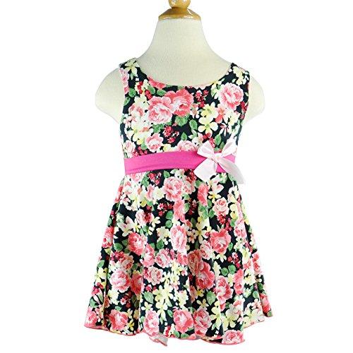 CM-CG Little Girls' Summer Flowers Multi Color Waistband Bowknots Vest Dress 2-3Y