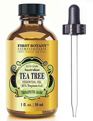 100% Pure Australian Tea Tree Essential Oil with 45% Terpinen-4-ol, 1 fl. oz. A Known Solution to Help in Fighting Acne, Toenail Fungus, Dandruff, Yeast Infections, Cold (Best Cold Sore Treatment)