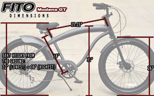 Anti-Rust and Light Weight Aluminum frame, Fito Modena GT-2 Alloy Shimano 7-speed Matte Black, Shimano Disk Brakes, men's 26″ Beach Cruiser Bike Bicycle Special Offers