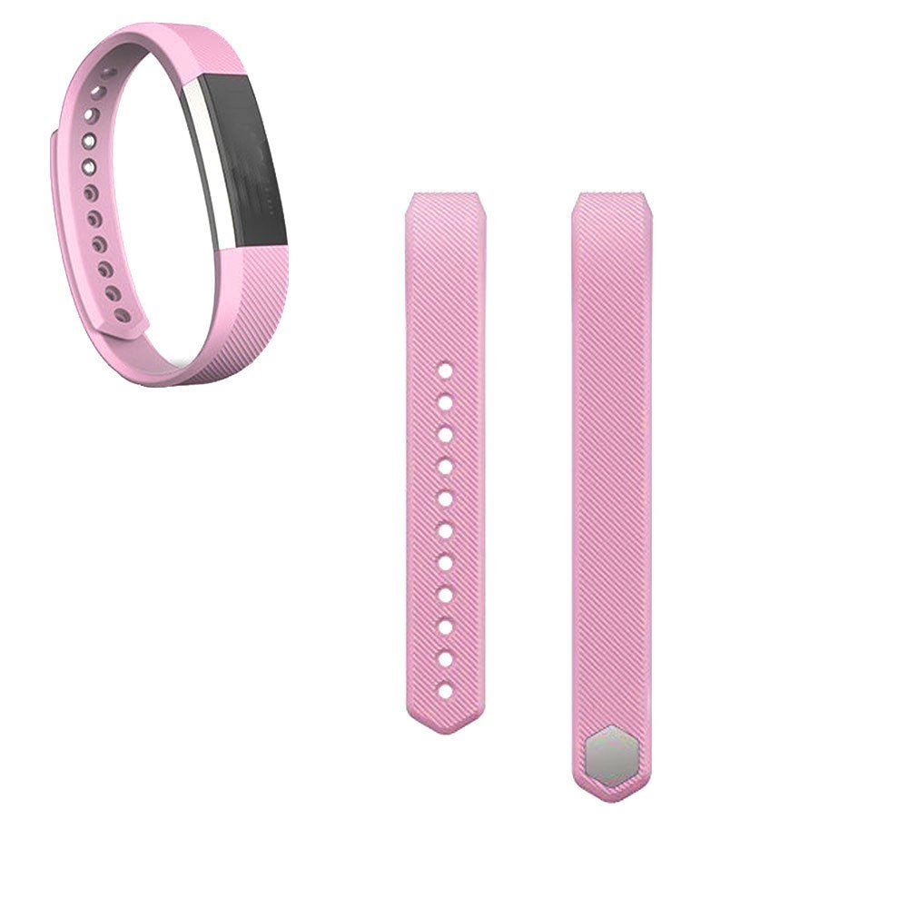 Watch Band for Fitbit Alta, FTXJ Luxury Silicone Watch Replacement Band Strap + Band Clasp Pink