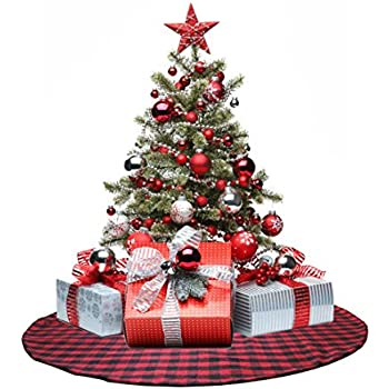 edldecco 48 inch christmas tree skirt with red and black buffalo check tree skirt double layers - Buffalo Check Christmas Decor