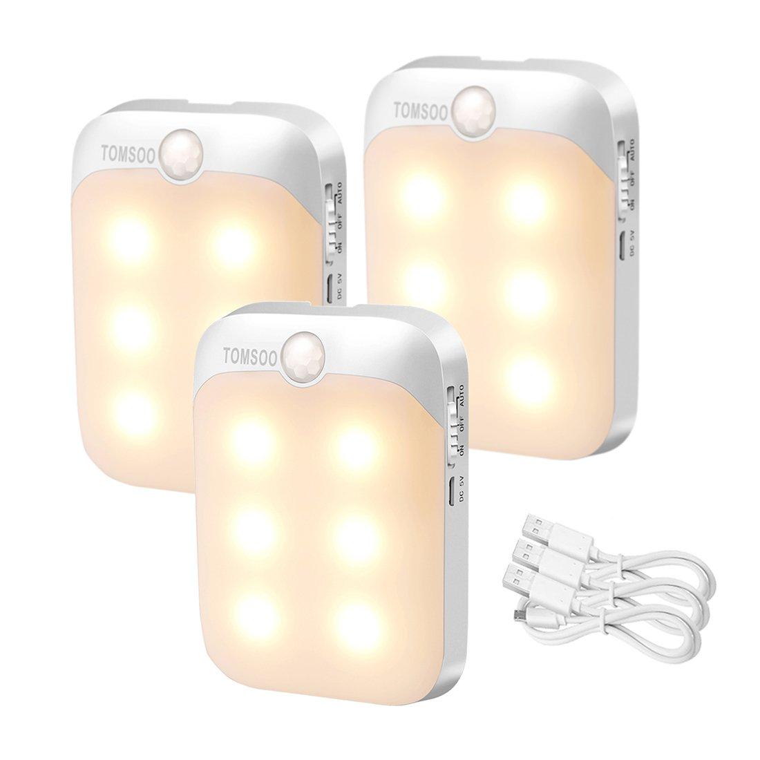 TOMSOO Rechargeable Motion Activated Sensor Light, Cordless Motion Sensing LED Night Light, 6-LED Wireless Porch Light, Closet Light, Emergency Light, Pack of 3 (Warm White)