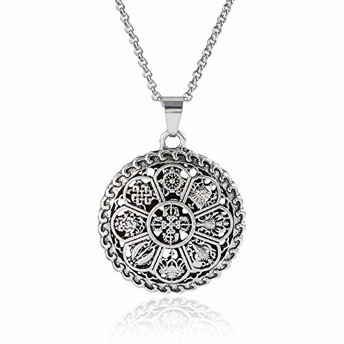 Shell Medallion Necklace (Mandala Medallion Pendant Necklace Meditation Yoga Inspired Bohemian Jewelry 4066)